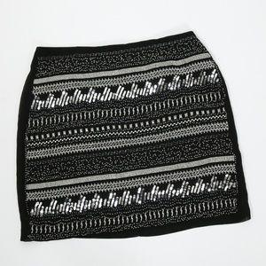 H&M Black & Silver Beaded Mini Skirt Size 6